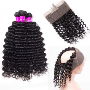 Tinashe hair deep wave bundles with 360 frontal