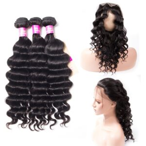 Tinashe hair loose deep bundles with 360 frontal