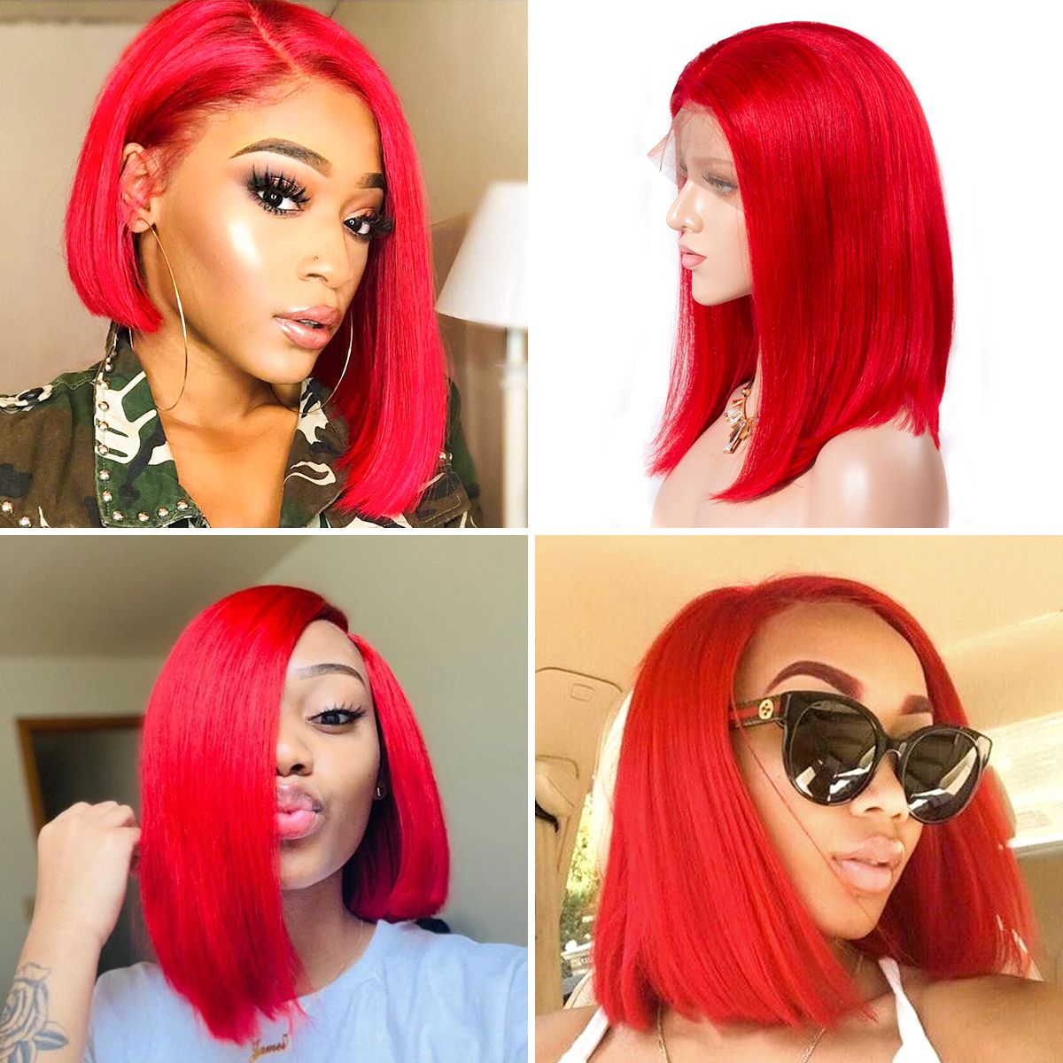 Colorful 13x6 Short Bob Straight Hair - Red