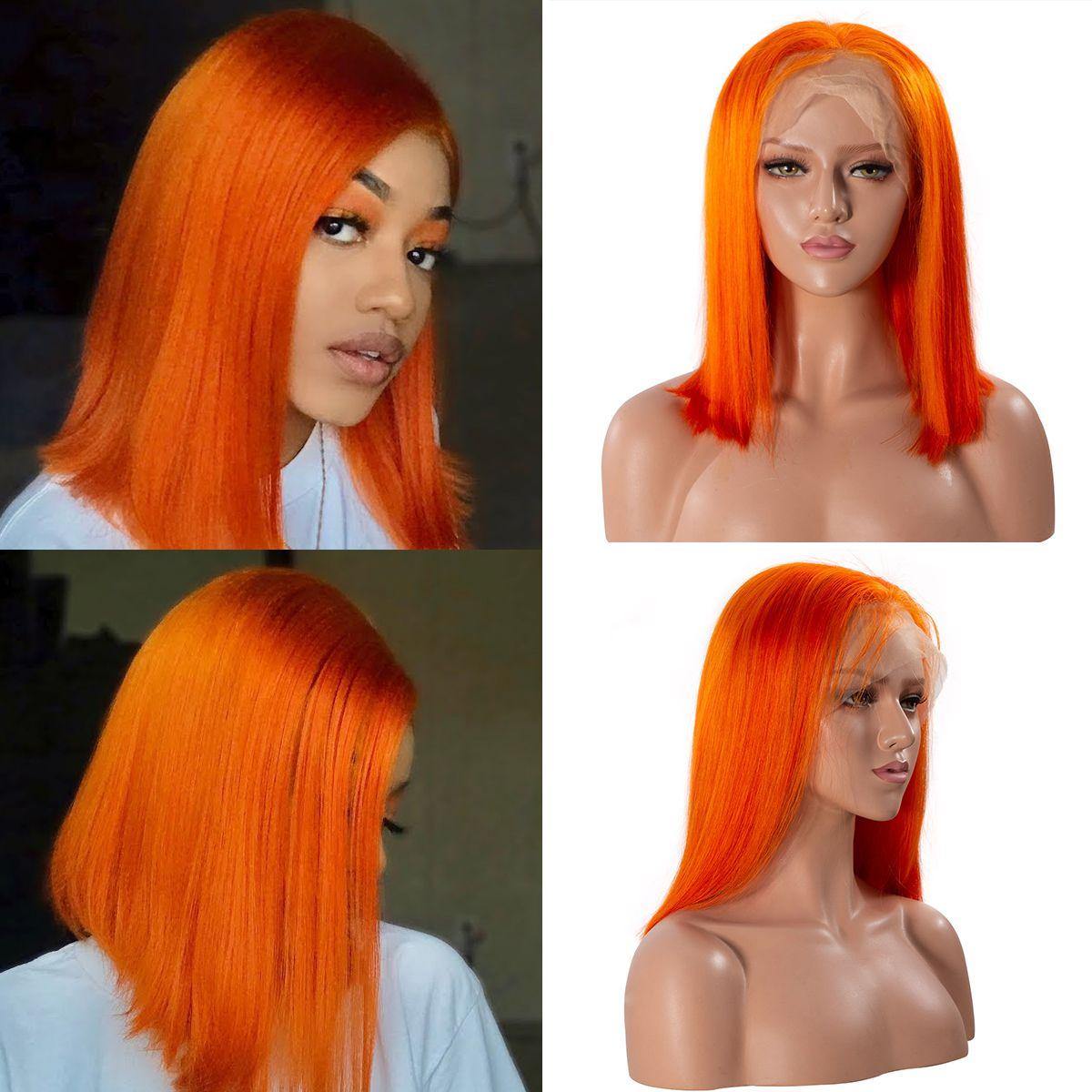 Colorful 13x6 Short Bob Straight Hair - Orange