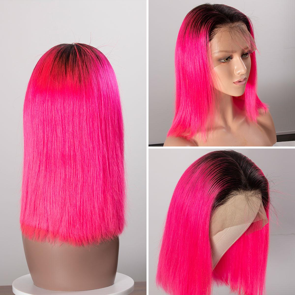 Colorful 13x6 Short Bob Straight Hair - 1B/Pink