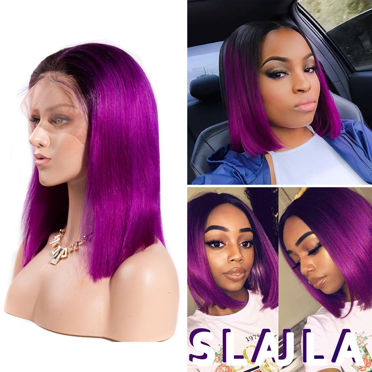 Colorful 13x6 Short Bob Straight Hair - 1B/Purple