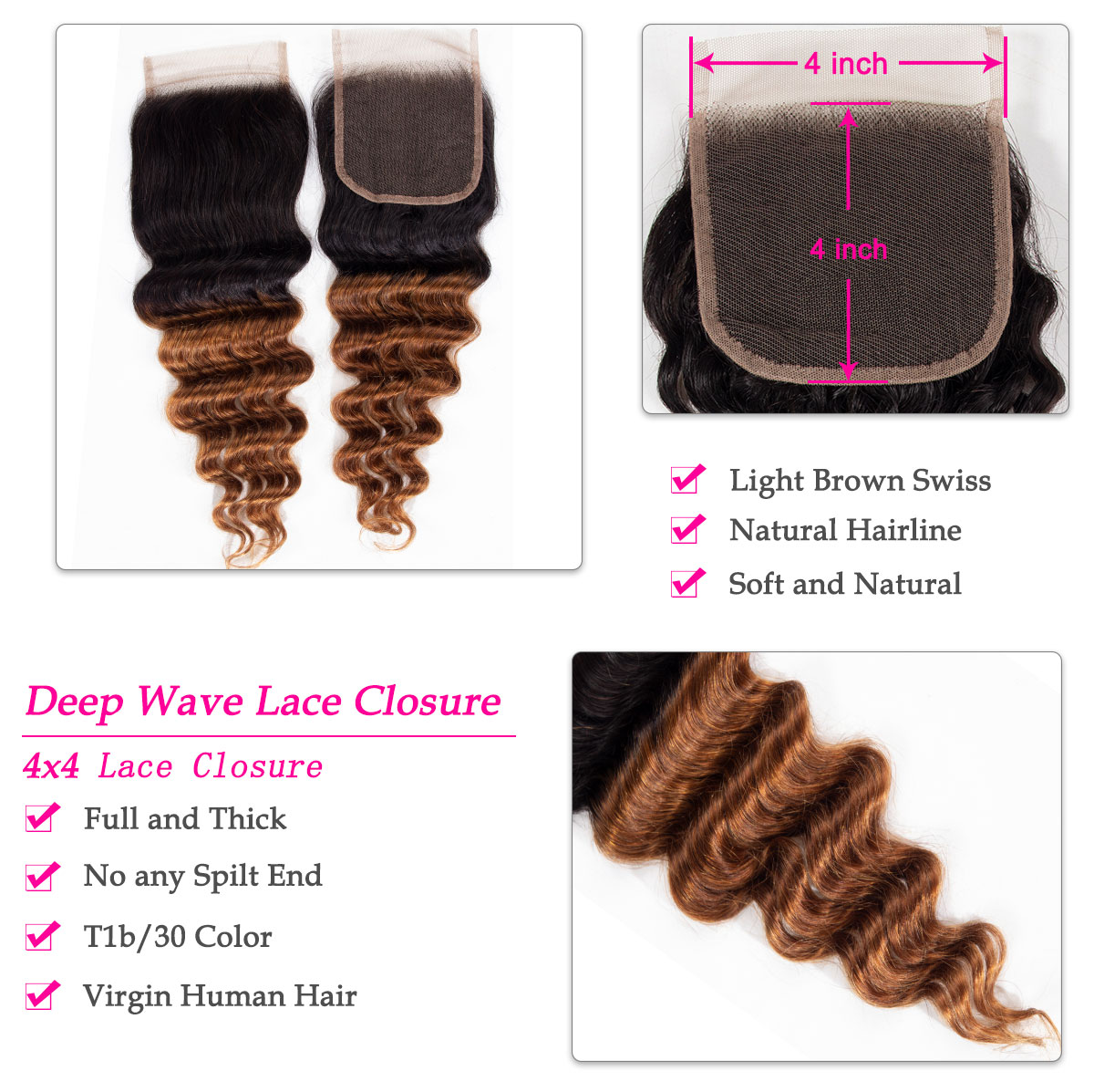 1b 30 deep wave lace closure