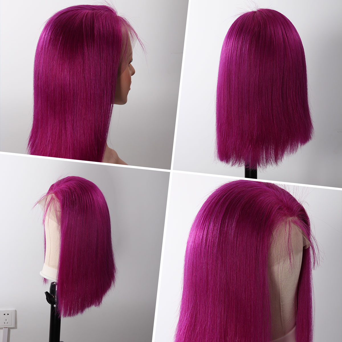 Colorful 13x6 Short Bob Straight Hair - Rose Red