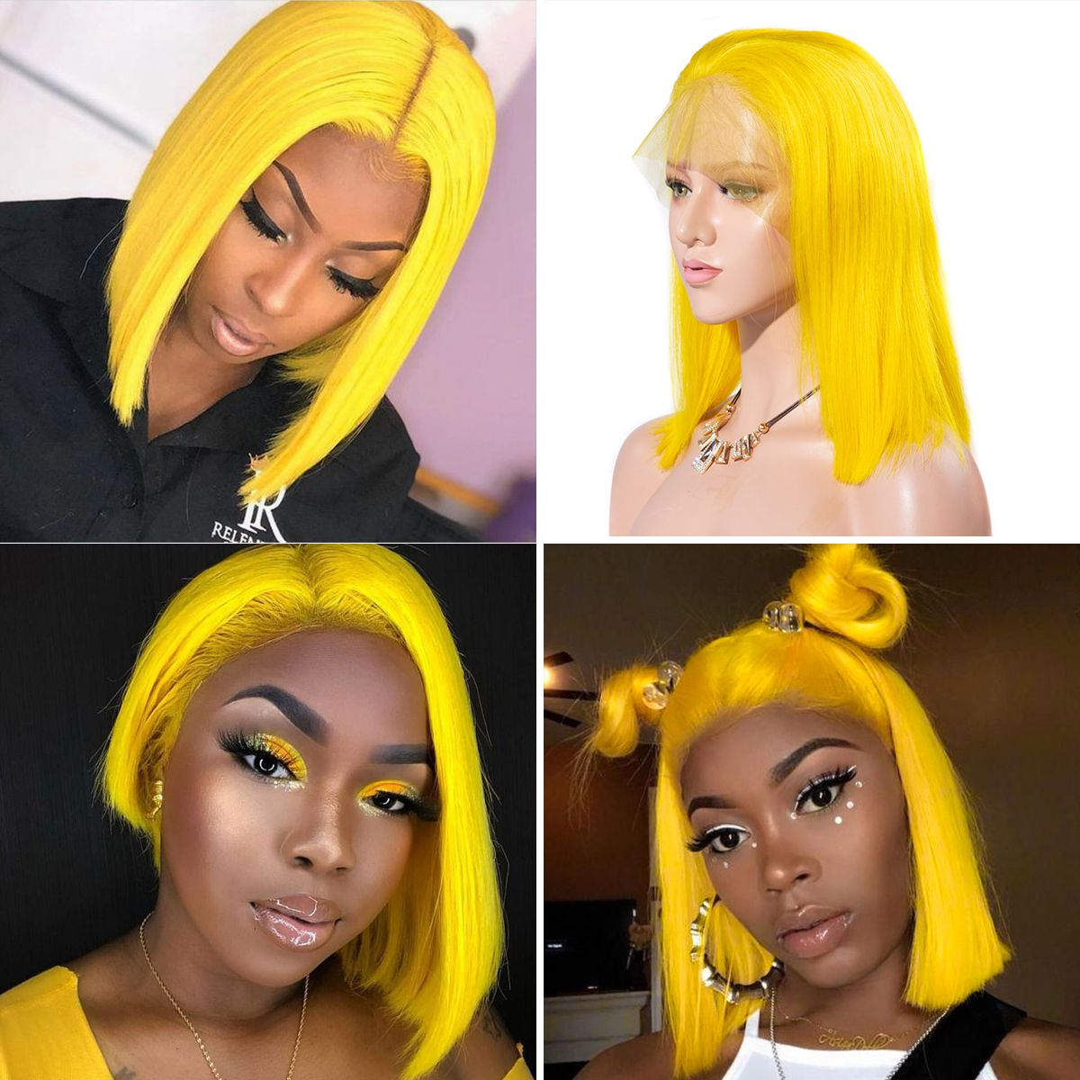 Colorful 13x6 Short Bob Straight Hair - Yellow