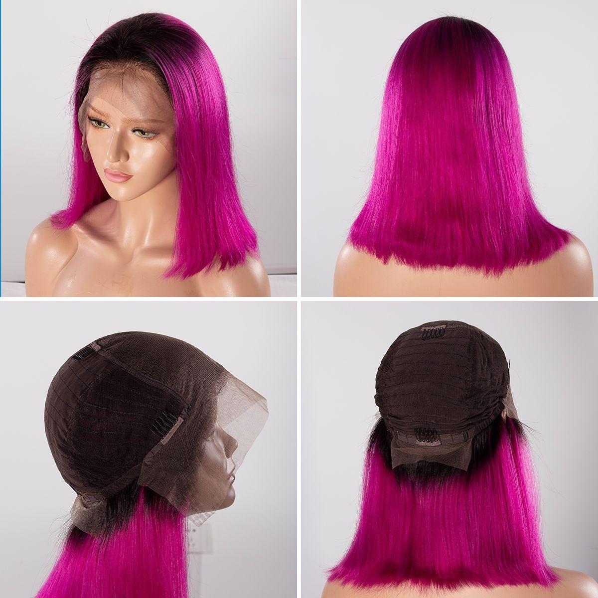 Colorful 13x6 Short Bob Straight Hair - 1B/Rose Red