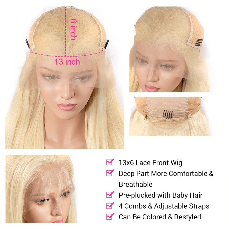 613 Blonde Straight Hair 13x6 Lace Front Wigs