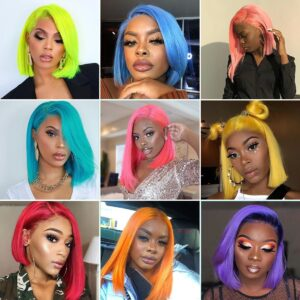 Colorful lace front short bob straight hair