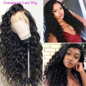 Loose deep transparent lace front wig