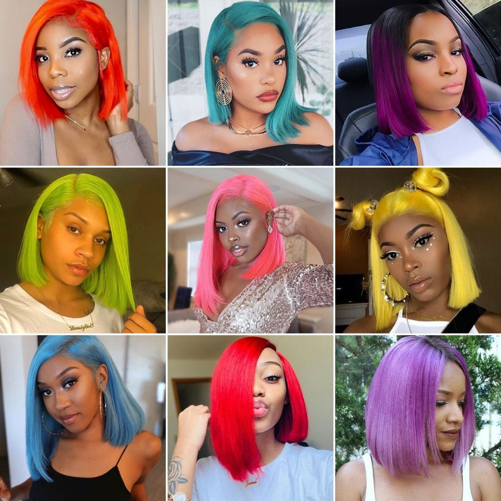 colorful Bob wig