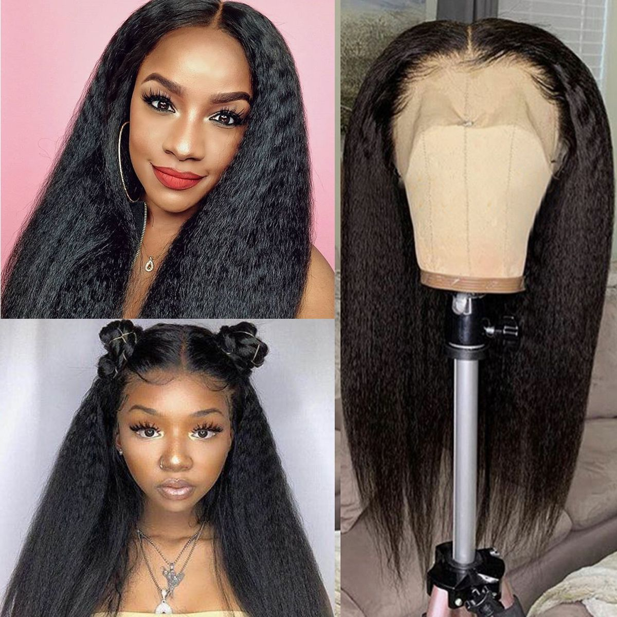 kinky straight full lace wigs