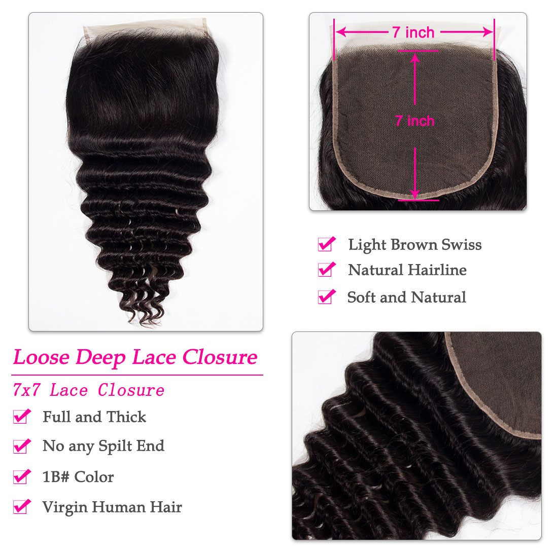 loose deep 7x7 lace closure