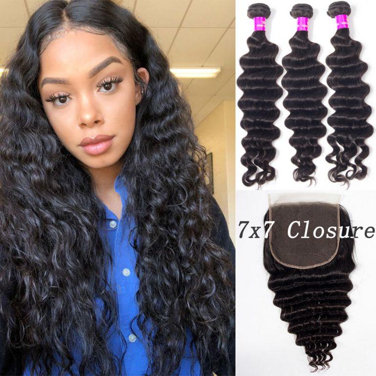 loose deep bundles with 7x7 lace closure