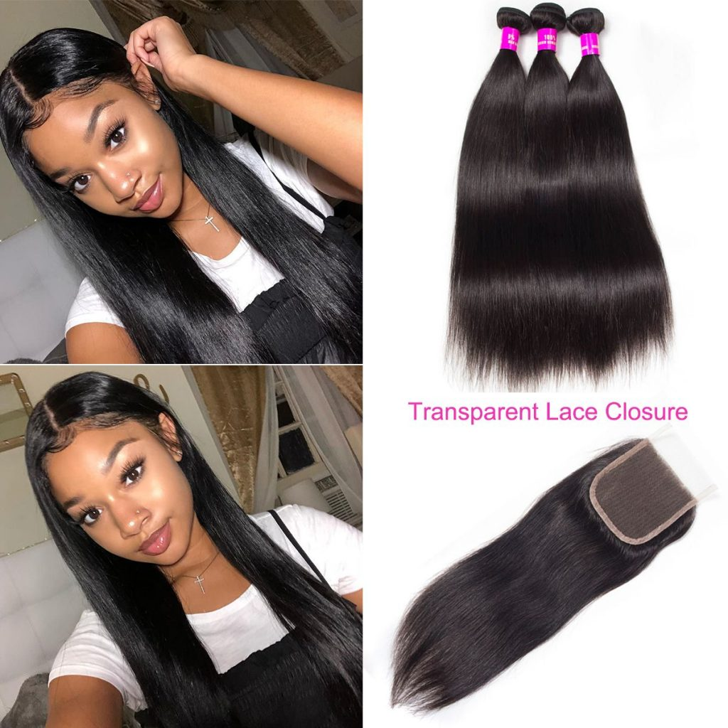 straight hair bundles with transparent lace closure