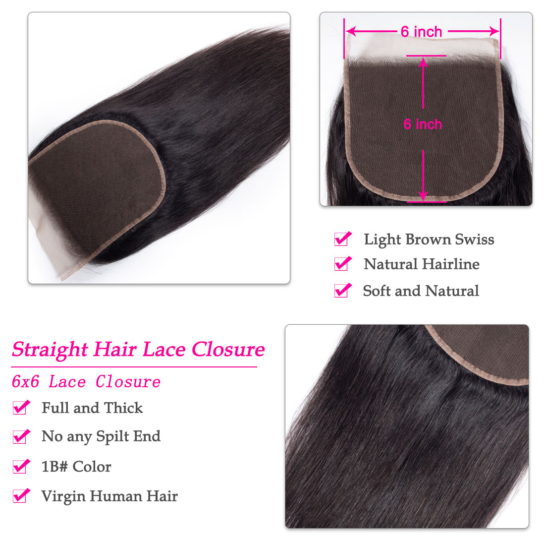 tinashe hair 6x6 straight hair closure
