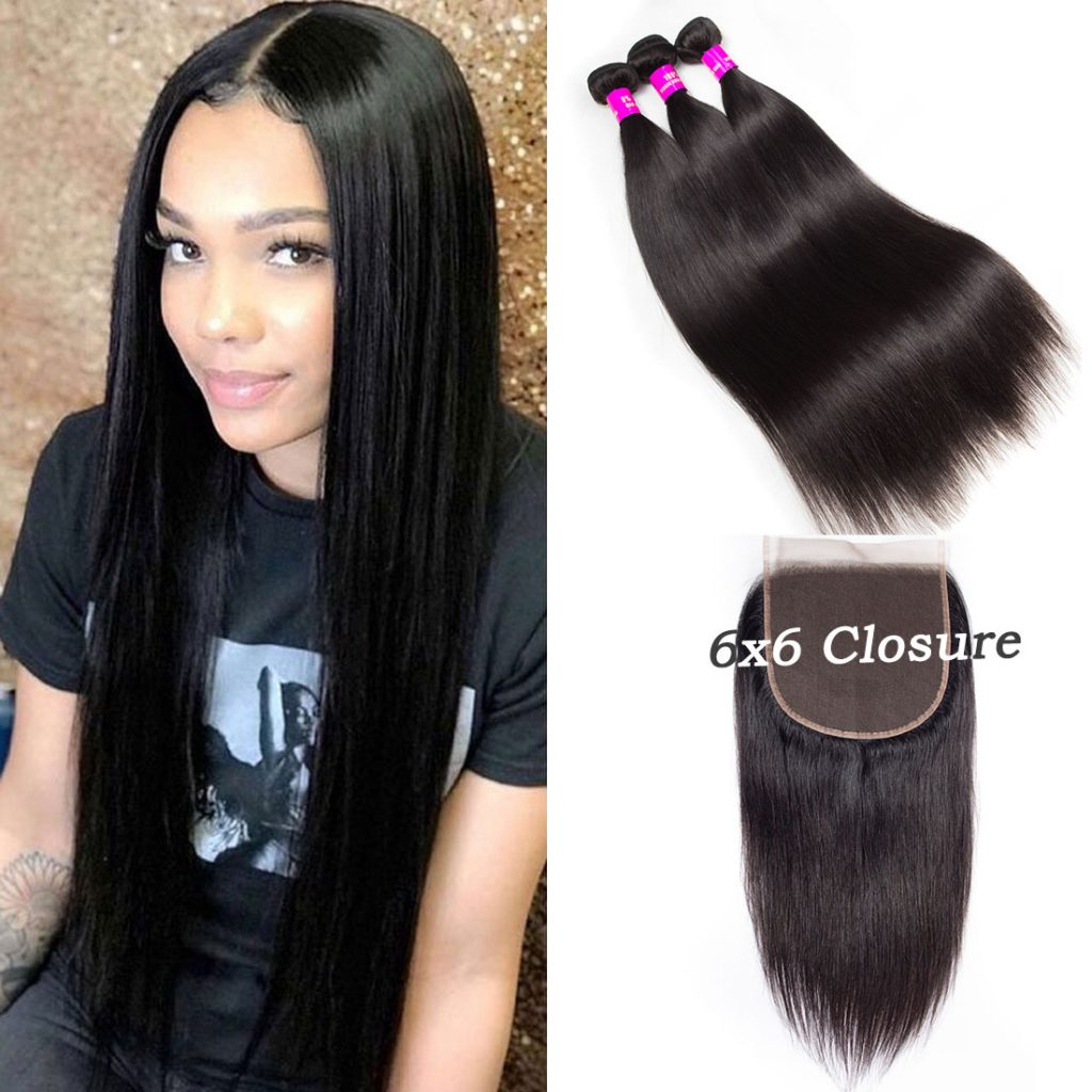 tinashe hair 6×6 straight hair closure with bundles