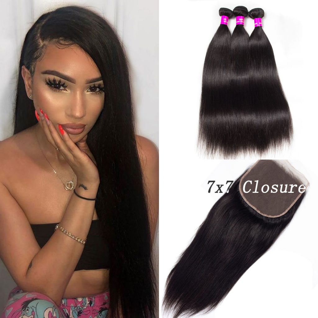 tinashe hair 7×7 straight hair closure with bundles