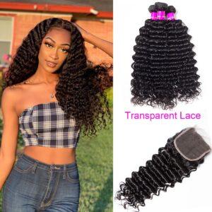 tinashe hair transparent lace closure deep wave