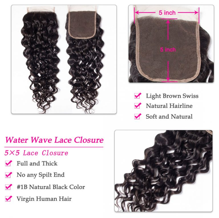 5x5 water wave lace closure