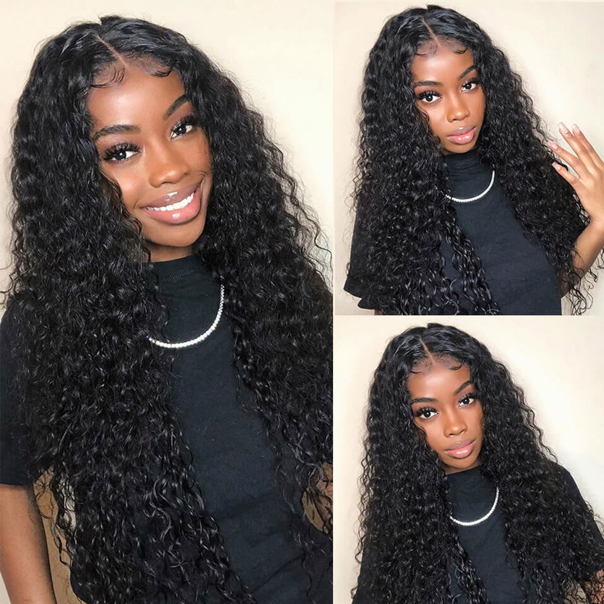 180 Density 6x6 Water Wave Pre Plucked Lace Front Wigs Tinashehair