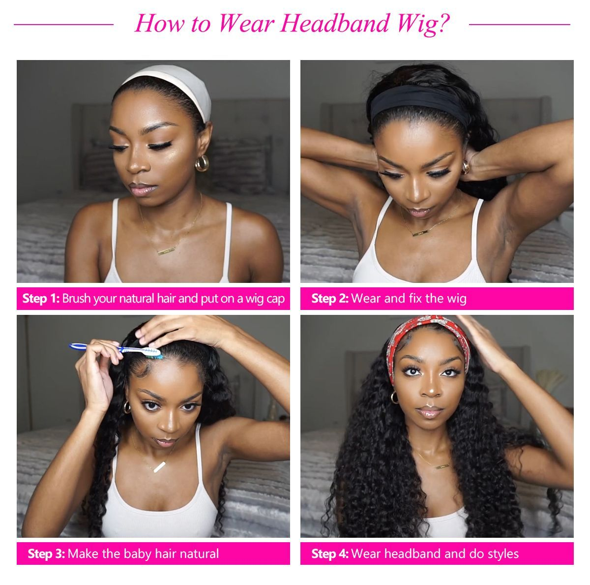 How to wear headband wig