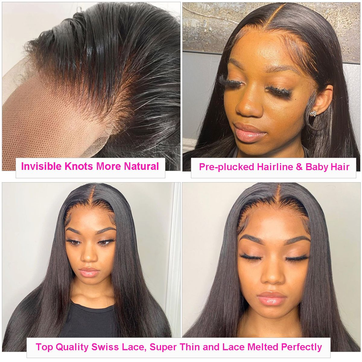Straight 13x4 lace wig detail